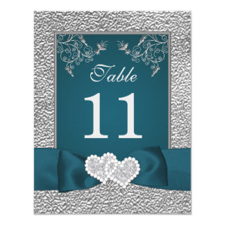 PRINTED RIBBON Teal Grey Joined Hearts Table Card