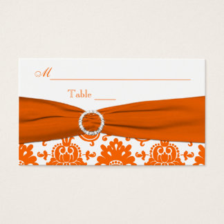 PRINTED RIBBON White, Orange Damask Place Card