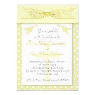 PRINTED RIBBON Yellow 1st Holy Communion Invite