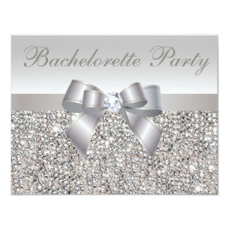 Printed Silver Sequins, Bow & Diamond Bachelorette Card