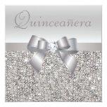Printed Silver Sequins, Bow & Diamond Quinceanera Custom Invite