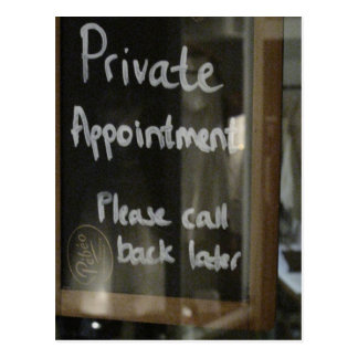 private appointment postcard