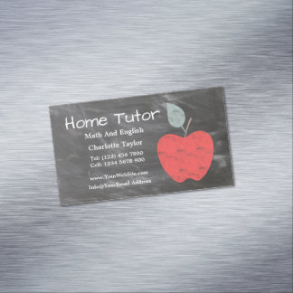 Private Home Tutor Apple Scrubbed Style Chalkboard Magnetic Business Card
