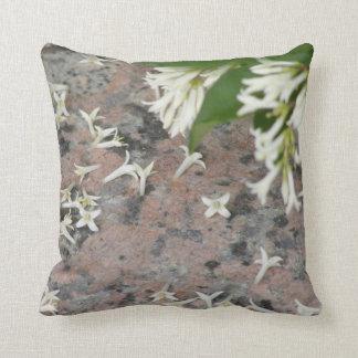 Privet Blossoms on Granite Throw Pillows