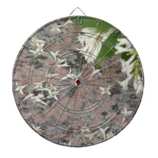 Privet Blossoms on Granite Dartboard