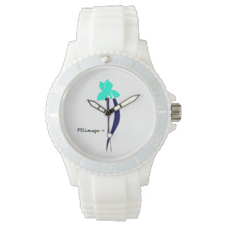 PRLimages Turquoise and Navy Iris Watch
