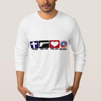 Pro God, Gun, Life, Anti Obama Bumper Stickers T-Shirt