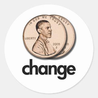 PRO OBAMA CHANGE CLASSIC ROUND STICKER