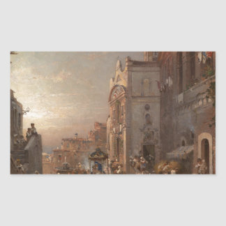 Procession in Naples by Franz Richard Unterberger Rectangular Sticker