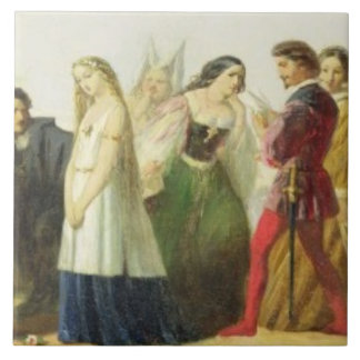Procession of characters from Shakespeare (oil on Tile
