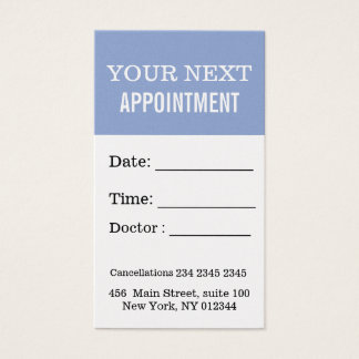 Professional Appointment Serenity Blue On Point Business Card