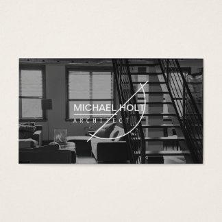 Professional black and white architect plain white business card