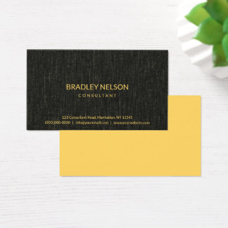 Professional Black Minimalist Faux Linen Fabric Business Card