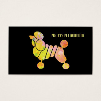 Professional Colorful Poodle Pet Grooming Service Business Card