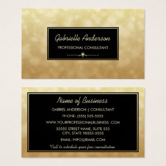 Professional Consultant Black Gold Glamour Bokeh Business Card