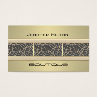 Professional elegant contemporary chic leves gold business card