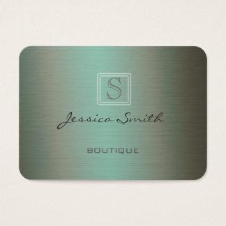 Professional elegant plain  monogram metal look business card