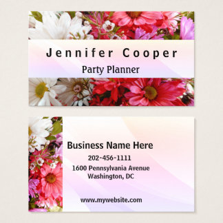 Professional Eye-catching Flowers Party Planner Business Card