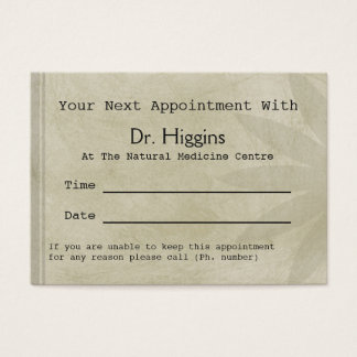 Professional Floral Medical Dental etc Appointment Business Card