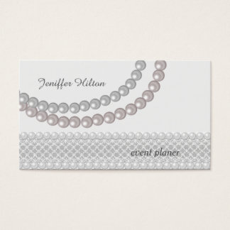 Professional glamorous modern lace pearls business card