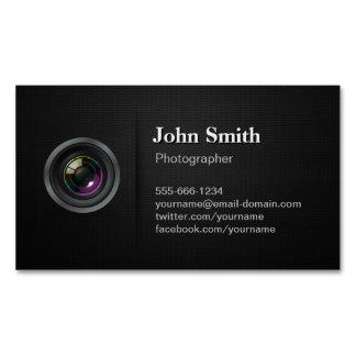 Professional Plain Black - Camera Photographer Magnetic Business Card