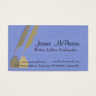 Professional Simple Modern Feather Pen  Blue Gold Business Card