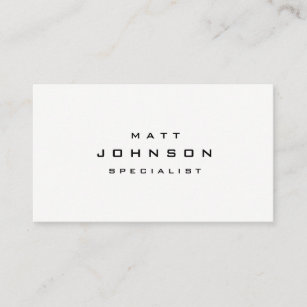 professional simple plain white business card