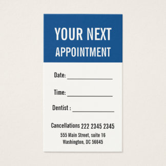 Professional Snorkle Blue Next Appointment Business Card
