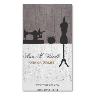 Professional Vintage Fashion Stylist Mannequin Magnetic Business Cards