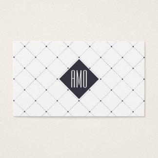 Professional white navy blue elegant dots pattern business card