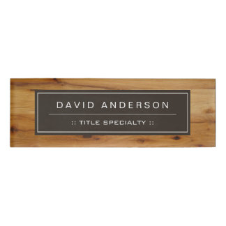 Professional Wood Texture Woodgrain Look Name Tag
