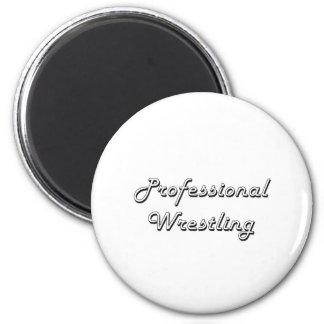 Professional Wrestling Classic Retro Design 6 Cm Round Magnet