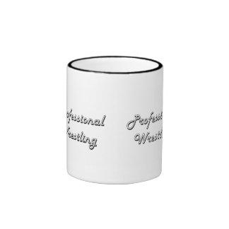 Professional Wrestling Classic Retro Design Ringer Mug