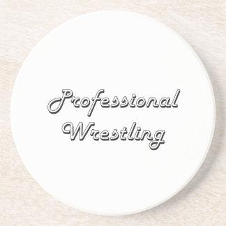 Professional Wrestling Classic Retro Design Sandstone Coaster