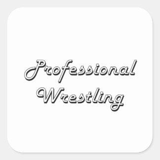 Professional Wrestling Classic Retro Design Square Sticker
