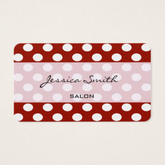 Proffesional elegant modern polka dots red business card