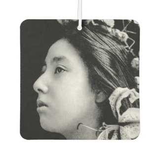 Profile of a Geisha Black and White Beauty Vintage Car Air Freshener