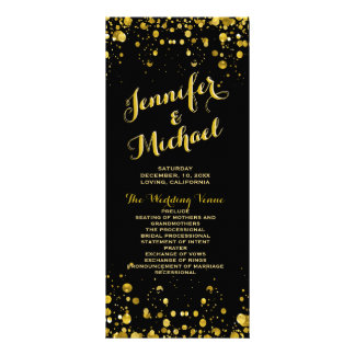 Program | Gold Confetti and Black Customised Rack Card