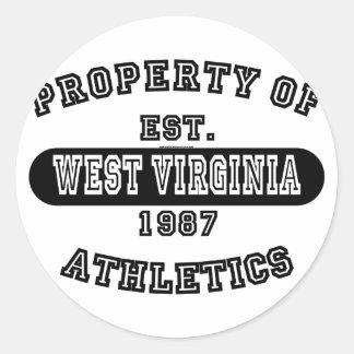 Property of West Virginia shirts Round Sticker