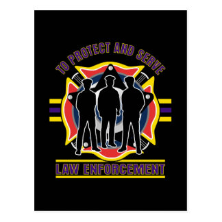 Protect and Serve Police Postcard