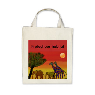 Protect our habitat Organic Grocery Tote Tote Bags