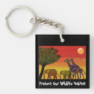 Protect Wildlife Habitat Keychain Square Acrylic Keychains