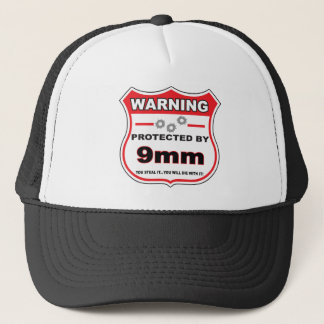 protected by 9mm shield trucker hat