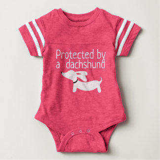 Protected by a Dachshund Baby Girl Outfit Baby Bodysuit