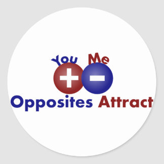 Protons, Electrons, Opposites Attract Round Sticker