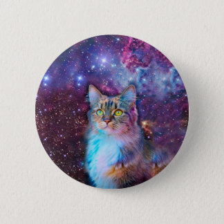 Proud Cat With Space Background 6 Cm Round Badge