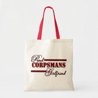 Proud Corpsmans Girlfriend (Red N Black) Canvas Bags