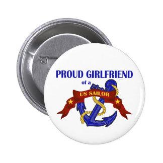 Proud Girlfriend of a US Sailor 6 Cm Round Badge