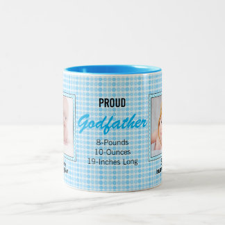Proud Godfather Blue Polka Dots with Photos Two-Tone Coffee Mug