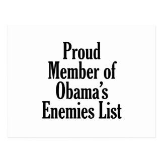 Proud Member of Obama's Enemies List Post Cards
